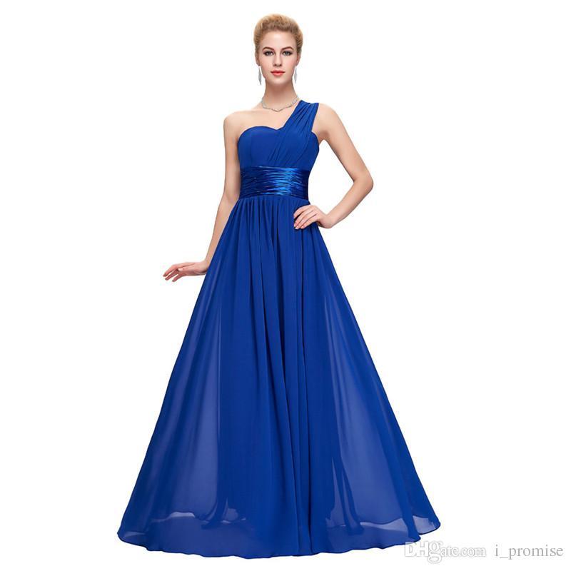 062587b458c Long Bridesmaid Dress Red Black Purple Royal Blue Desses One Shoulder Chiffon  Formal Evening Wedding Party Dresses Gown Puls Size Teen Bridesmaid Dresses  ...