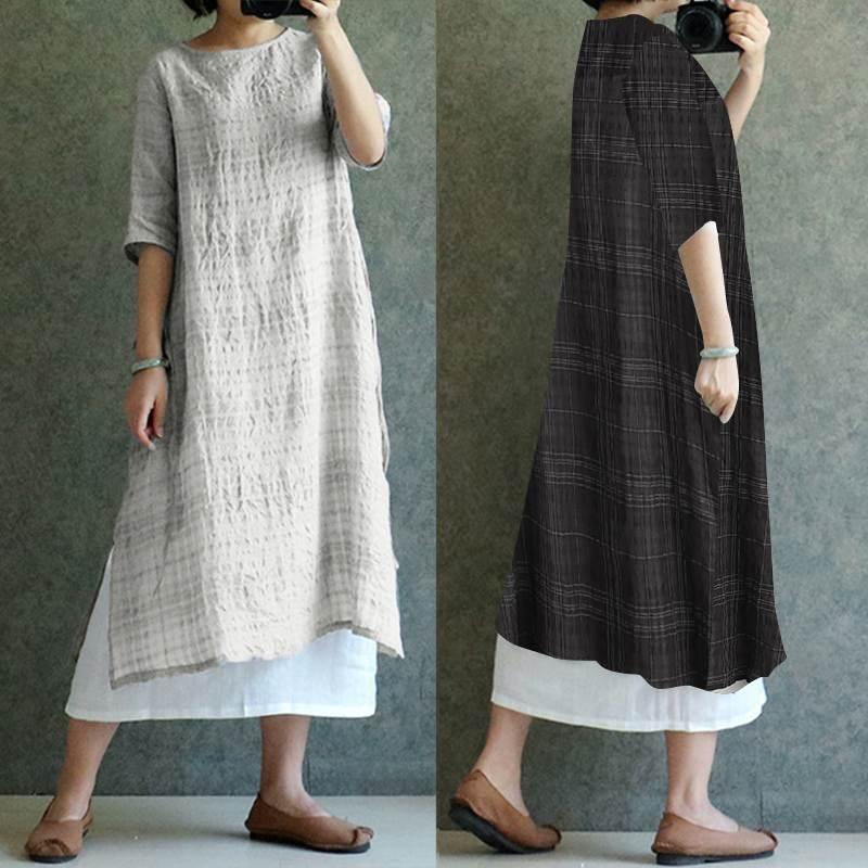 cbfa940d7e Celmia 2019 Summer Women Long Shirt Dress Plus Size 5XL Vintage Check Plaid Linen  Dresses Casual Half Sleeve Loose Midi Vestidos Long Sleeve Casual Dresses  ...