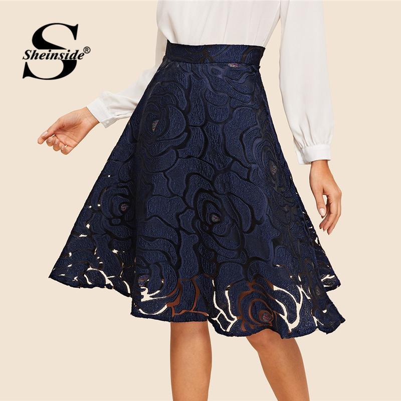 07145cf4c Sheinside Navy Vintage Jacquard Mesh Midi Falda Mujer 2019 Primavera Media  cintura Una línea Faldas Señoras elegante O-ring Zip Up Falda Y19043002