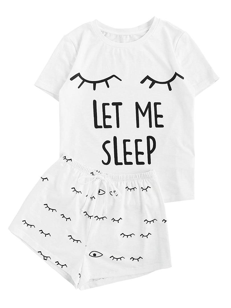 2019 closed eyes print set women s design crop top sleepwear tee Ata Chapter List 2019 closed eyes print set women s design crop top sleepwear tee shorts pajama set stretchy loose tops elastic waist casual from qiangweiflo