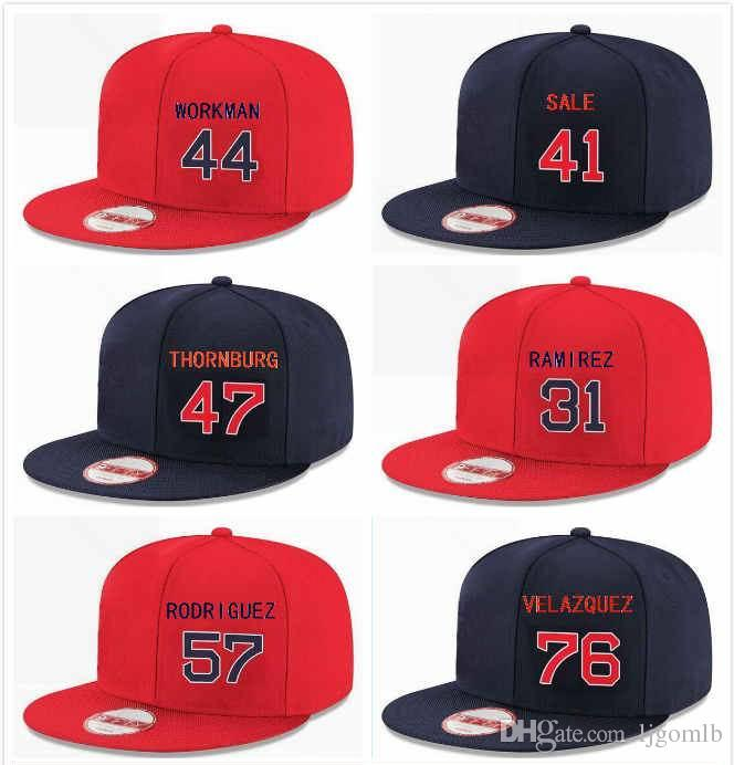 Customized Snapback Red Boston Hat Chris Sale 41 Erasmo Ramirez 31 Eduardo Rodriguez 57 Tyler Thornburg 47 Hector Velazquez 76 Workman 44