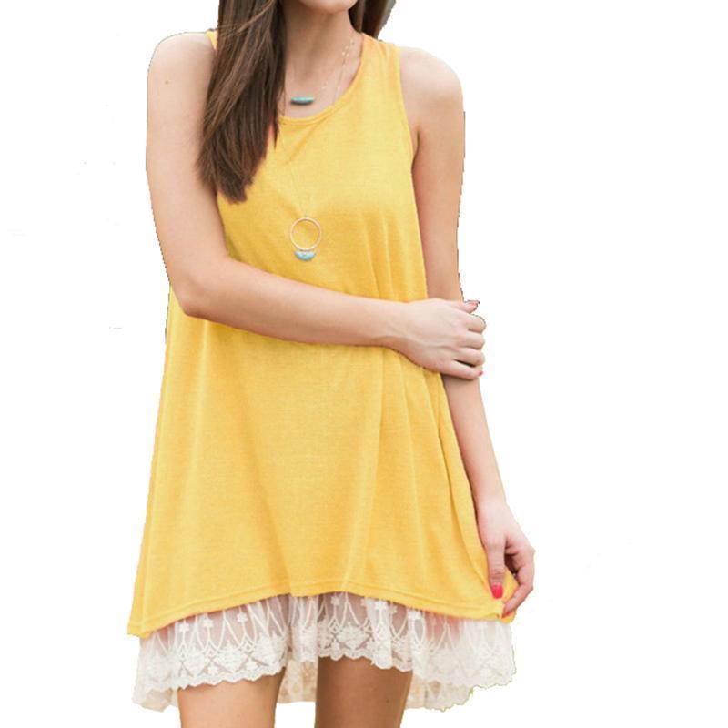 f3a47d33cc7c Kawaii Women Summer Dress 2019 Sexy Sleeveless Casual Dresses Femme  Patchwork Lace Dress Boho Beach Sundress Girls XXL GV628 Casual White  Summer Dresses T ...