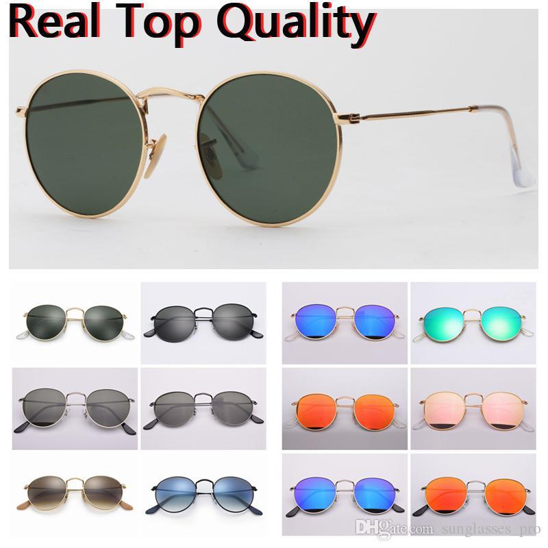 5ea034c62 Compre Óculos De Sol De Designer Rodada De Metal Real UV400 Lentes De Vidro  Óculos De Sol Livre Original Estojo De Couro, Pano, Caixa, Acessórios, ...