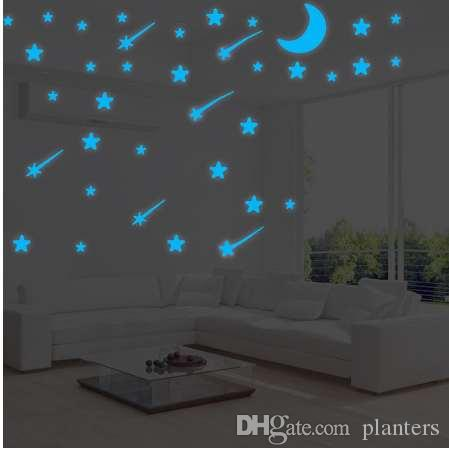 meteor shower wall stickers luminous stars home decal fluorescent