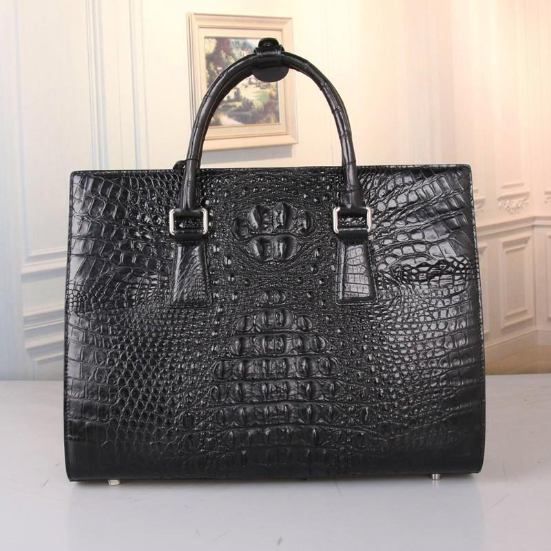 Magnetic Snap Closure Genuine Alligator Skin Businessmen Large Portable Briefcase Exotic Crocodile Leather Male Laptop Handbag