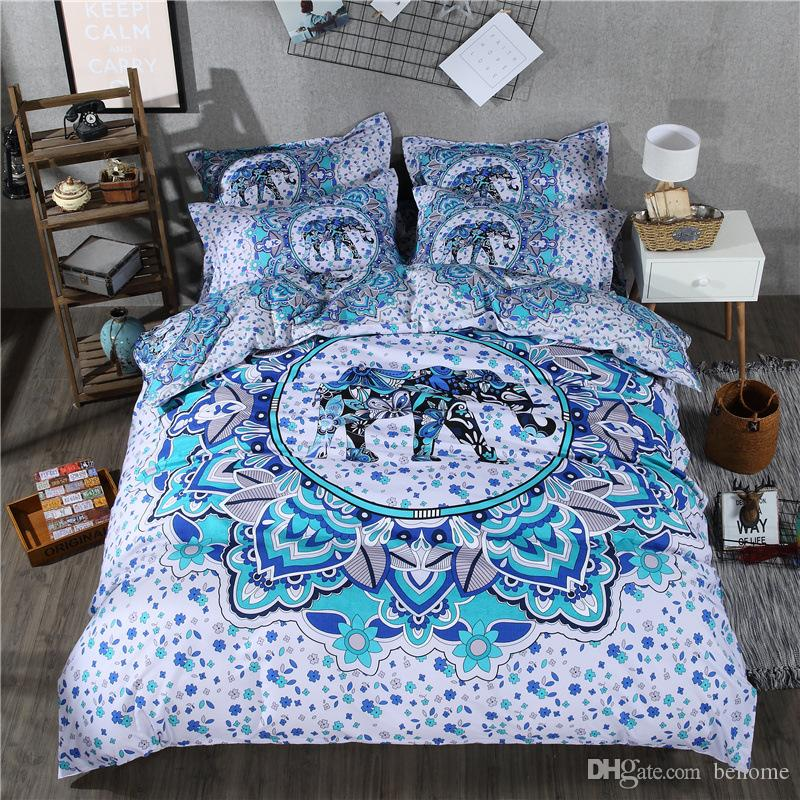 Hot Sale Bedding Sets 200*230cm Personality Creative Luxury Bedding Flower Skull Elephant Dream Starry Sky Men Women Three Piece Set