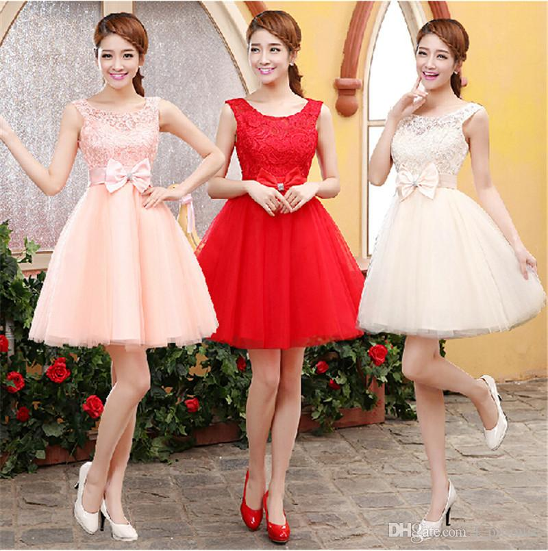 ac76175bc5d Short Bridesmaids Dresses Maid Of Honor Dress Soluble Lace Tulle With Bow  2019 New Scoop Neck Party Dress Lace Up Pastel Bridesmaid Dresses Bridesmaid  ...
