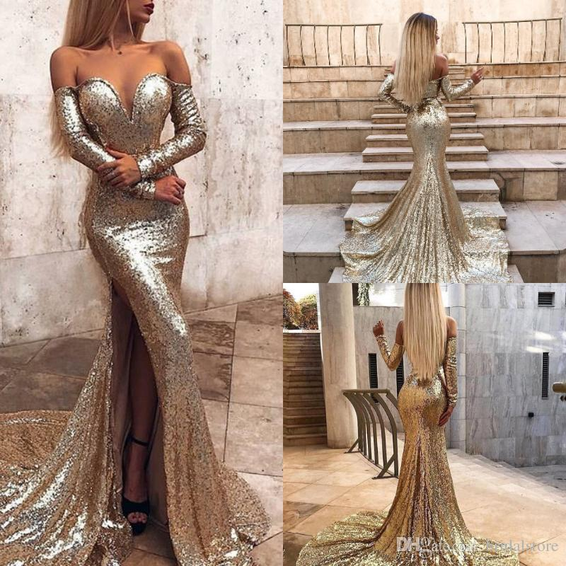 983adef612d Glitter Gold Sequin Mermaid Prom Dresses Abiti Sexy Off The Shoulder High  Split Long Sleeve Evening Gown Sparkly Backless Cheap Party Online Prom  Dresses ...