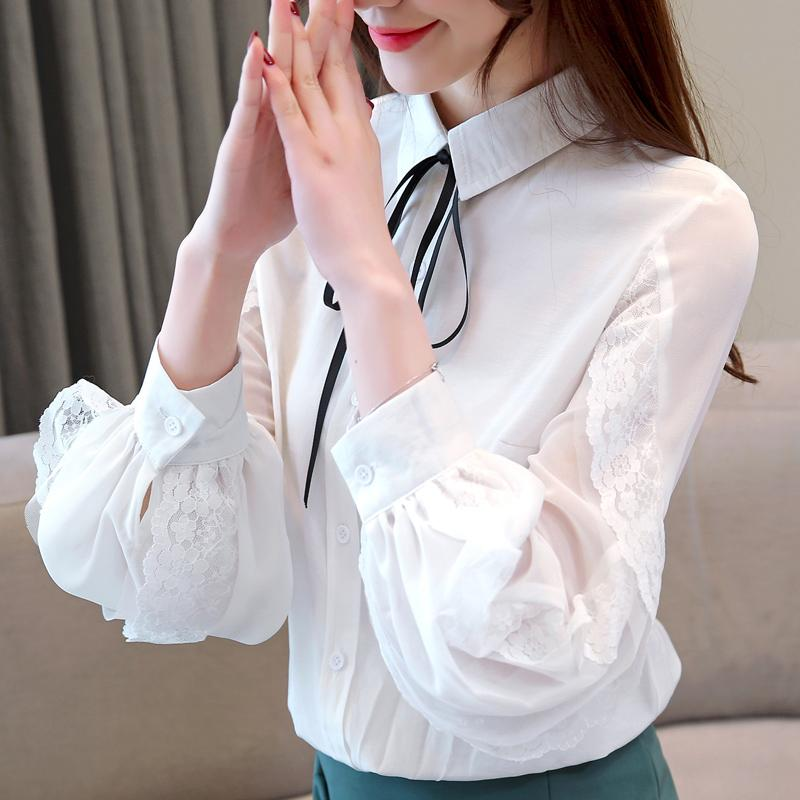 5c8413f7ee6d7d 2019 Blusas Mujer De Moda 2018 Womens Tops Blouses Long Sleeve Shirts  Patchwork Peter Pan Collar Puff Sleeve Chiffon Blouse 1975 50 From  Angelyanyan, ...