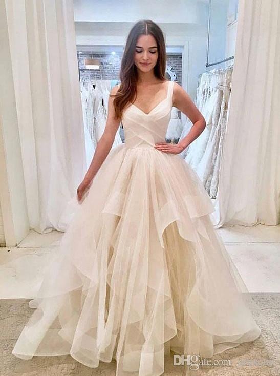 compre 2019 elegantes correas espaguetis vestidos de novia volantes