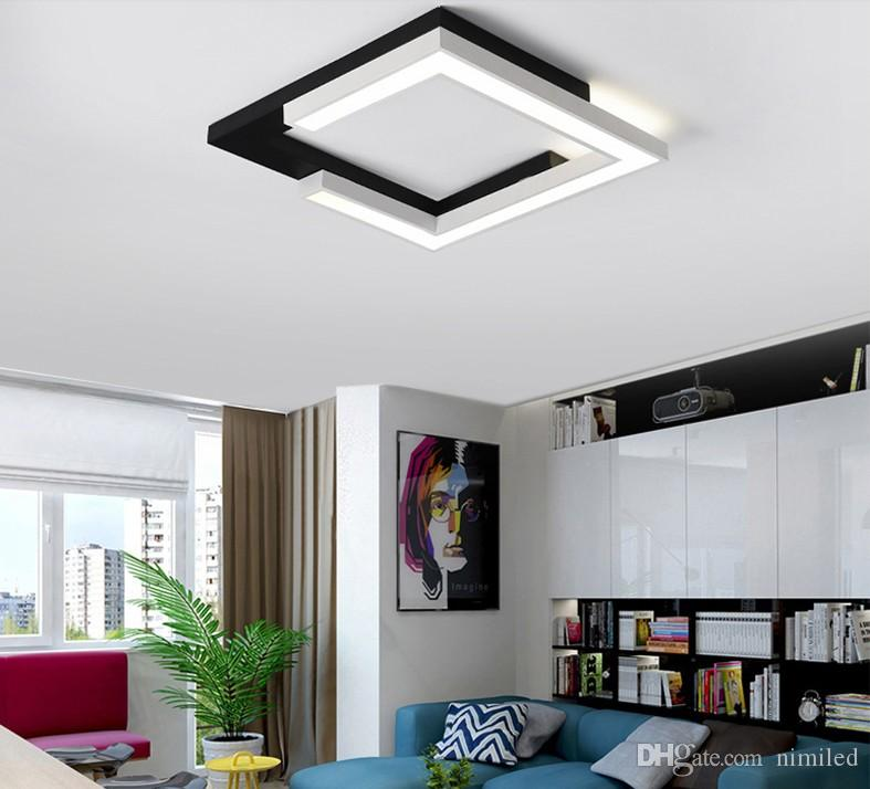 Modern LED chandelier for small living room bedroom kitchen balcony black and white square lighting ceiling chandelier fixture LLFA