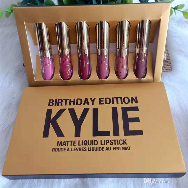 New Kylie Jenner Cosmetics Matte Liquid Lipstick Mini Kit Lip Birthday Edition Limited With the Golden Box 6pcs/set Lip Gloss 12