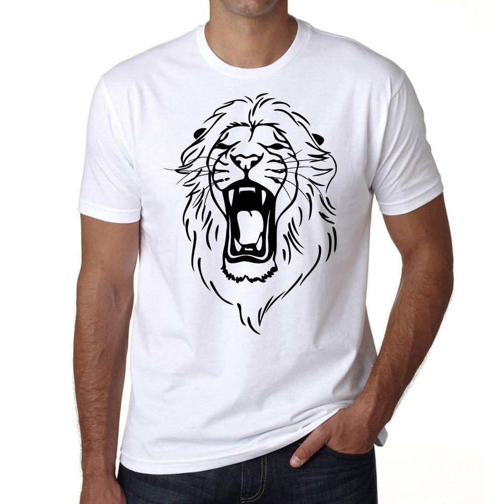 Angry Lion Head Tattoo Homme T Shirt Blanc Tattoo T Shirt Funny