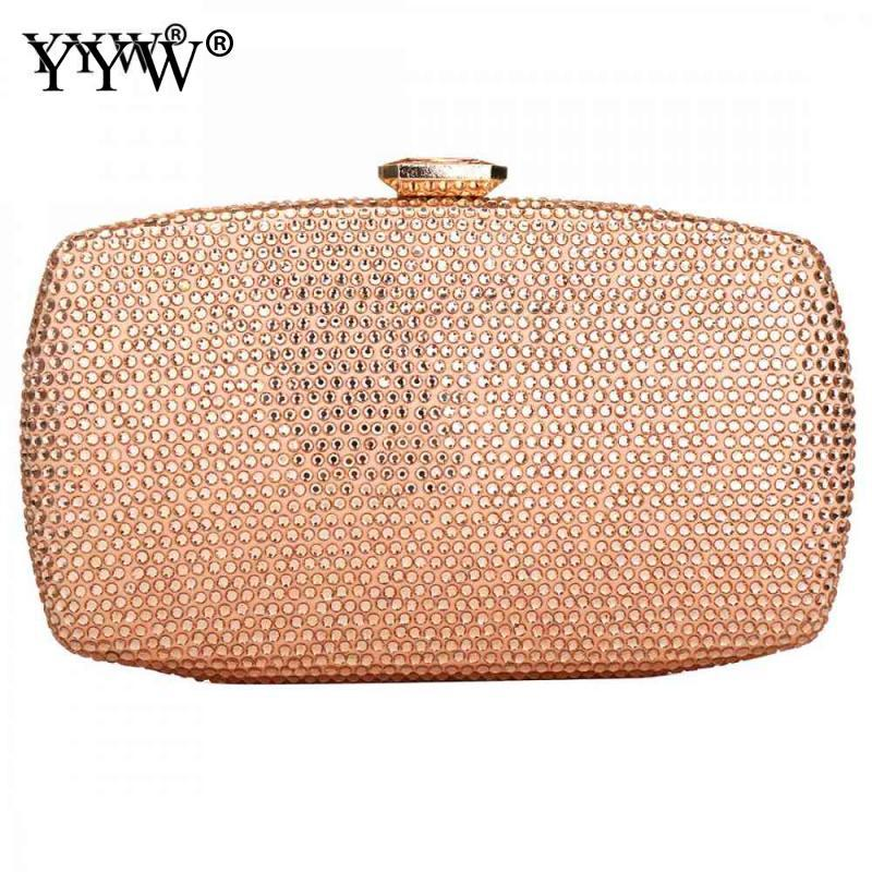8157f0762c Rhinestones Women's Evening Bags 2019 Silver Gold Clutch Bag Party Crystal  Wedding Handbags Chain Shoulder Clutches Purse Bag