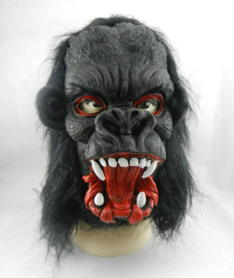 Halloween Creepy Animal Prop Máscara de fiesta de látex Unisex Scary Pig Head Máscara King Kong Orangután Halloween Scary Mask con cabello negro