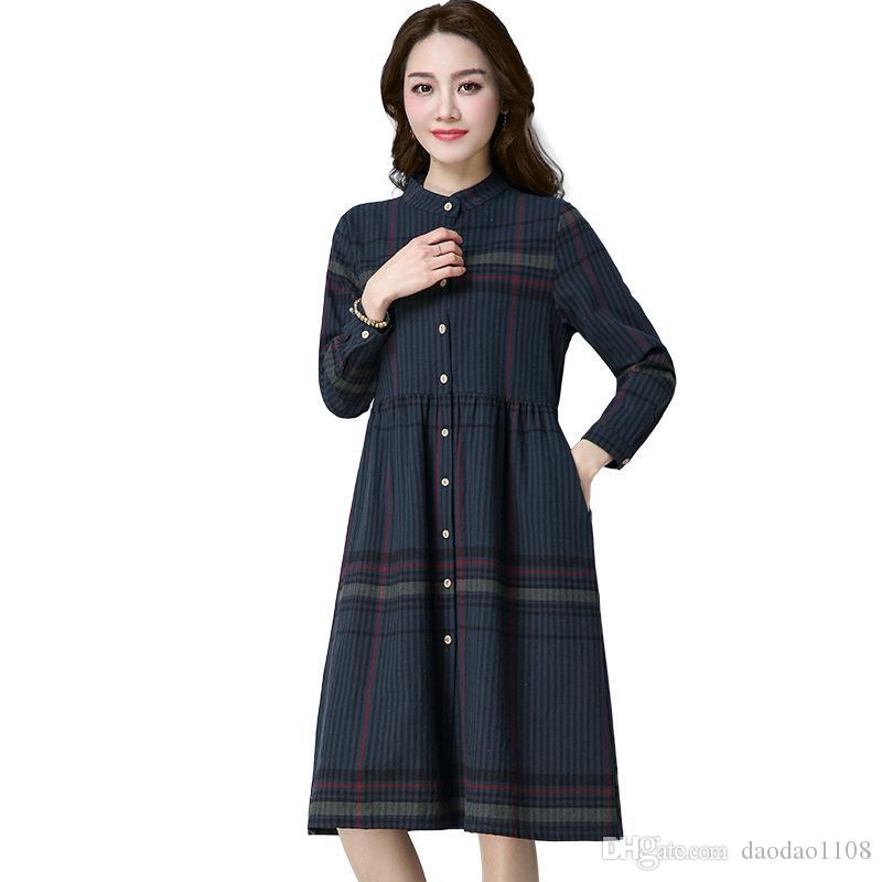 9789889e536f2 2017 Cotton linen Autumn Spring dress for women Long sleeve Stand neck  Shirt dress Red and Ink green colors