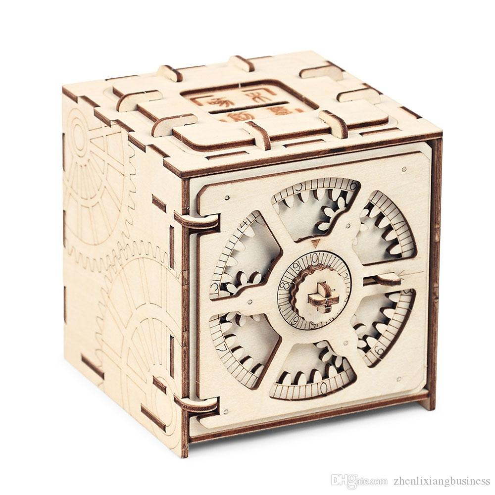 Cipher Code Deposit Box Mechanical Wooden Model 3D Puzzle Educational Toys