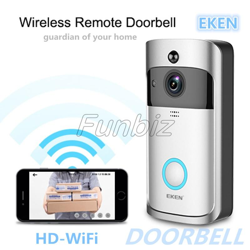 EKEN V5 Home Video Wireless Remote Doorbell 720P HD Wifi Real-Time Video Two Way Audio Night Vision PIR Motion Doorbell