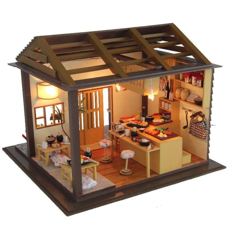 Diy Handmade Dollhouse Furniture Miniature 3D Wooden Miniaturas Sakura Sushi Restaurant Toys For Children Birthday Gifts 4 Inch Dolls Small