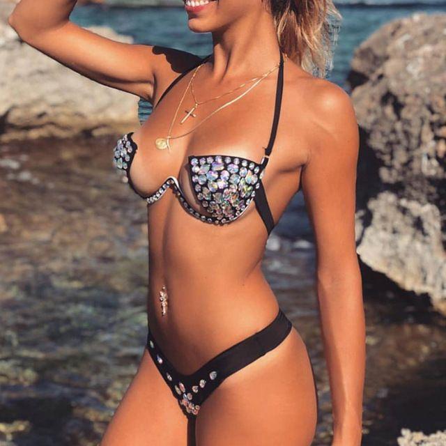 c7296bef895f Halter Sexy Diamond Crystal Bikini Set Bandeau Traje de baño Mujer Push Up  Traje de baño Brasileño Tanga Bikini 2019 Negro Mujer bañista