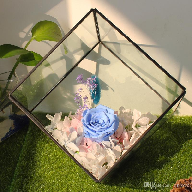 15*15CM Miniature Glass Terrarium Geometric Diamond Desktop Garden Planter For Indoor Gardening Home Decor Vases XD20972