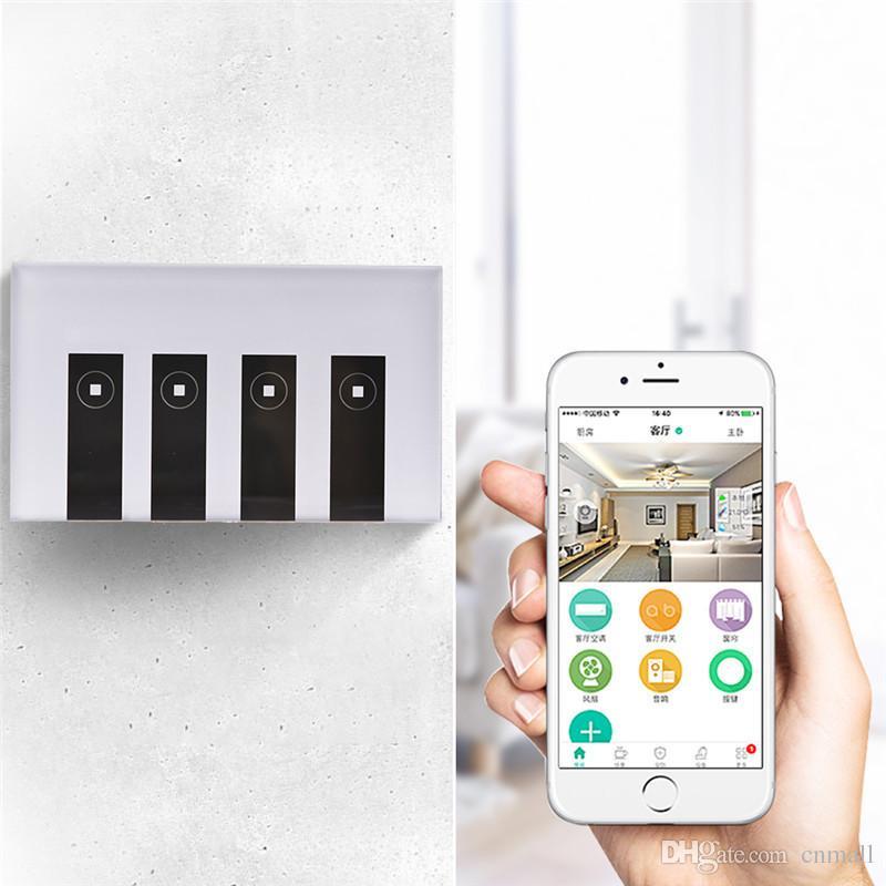 US 4 Gang LED Touch WIFI Switch Wireless Wall Smart Work With Alexa Google  APP EWELINK LED Smart Switch