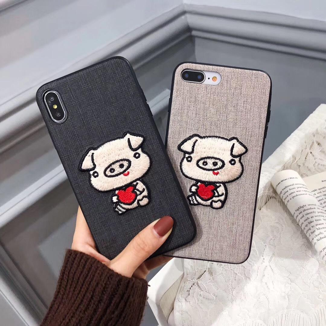 5a8023b4ec Luxury Designer Cartoon Cotton Embroidery Cute Piggy Case For IPhone X XS  MAX XR 8 7 I Phone 6 6S PLus Cloth Phone Cases Couple Pig Cover Cell Phone  Covers ...