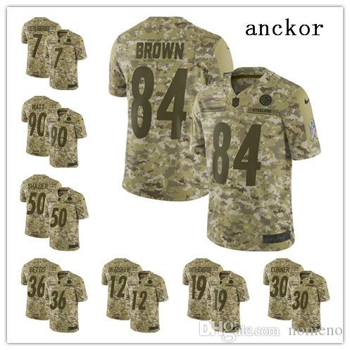 reputable site 7f347 990e0 Pittsburgh MEN WOMEN YOUTH 7 Ben Roethlisberger 30 James Conner Limited  Jersey Football Steelers Camo 2018 Salute to Service