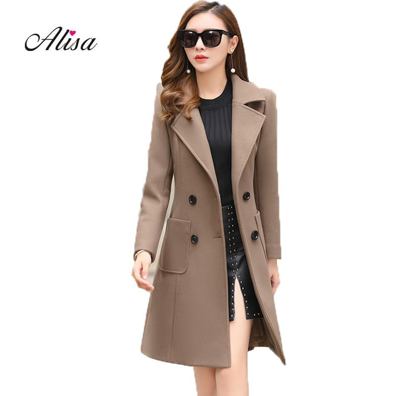 5fa34aaa866 2019 Plus Size Ladies Winter Coats 2019 New Long Sleeve Solid Double  Breasted Medium Long Woolen Overcoat Women Korean Coat Fashion From  Vikey18, ...
