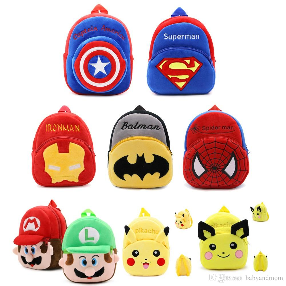 My Neighbor Totoro Pikahcu Super Mario Cartoon Mario Luigi Plush Backpack Spider-man Toy Mini School Bag Child Student Bags