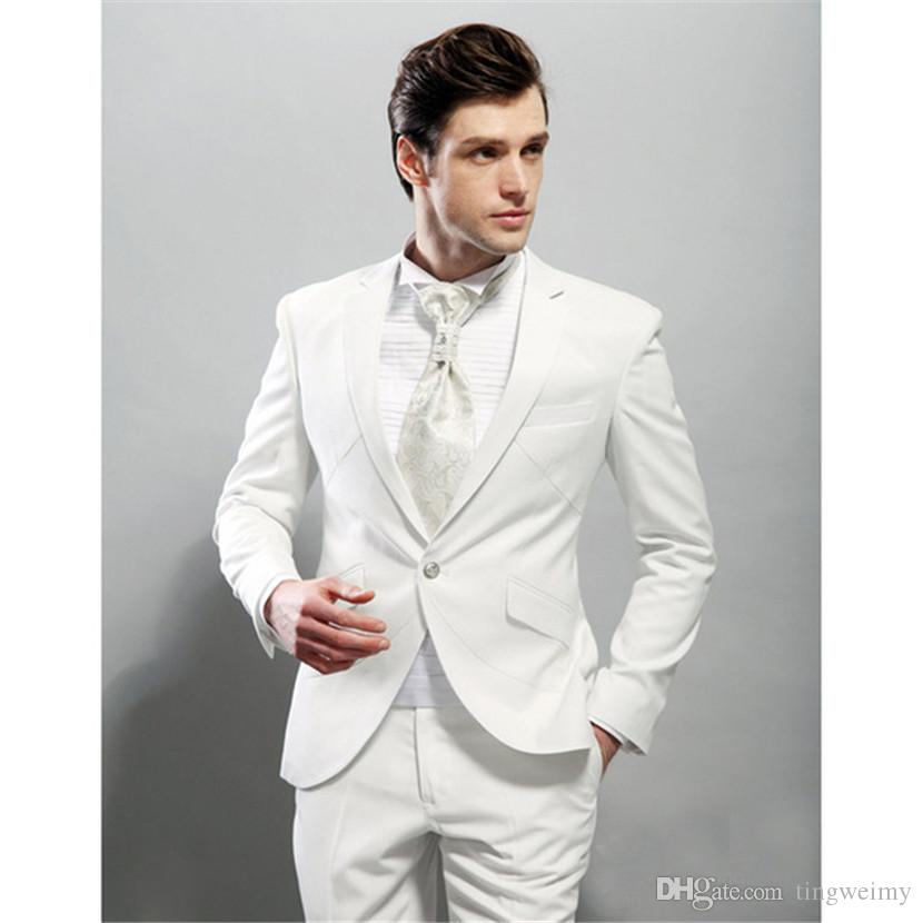 Costume Homme High Quality Groom Tuxedos Flat Collar Groomsman Suit 1 Button Wedding Custom Made Man For Clothes (jacket+pants)