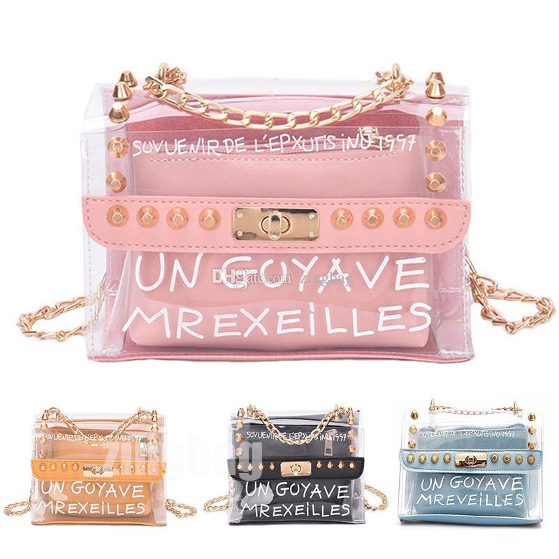 184c95025db8 Fashion Clear Designer Crossbody Bags Rivet Chains Designer Shoulder Bag  Women Designers Handbag Wallet Luxury Messenger Bag