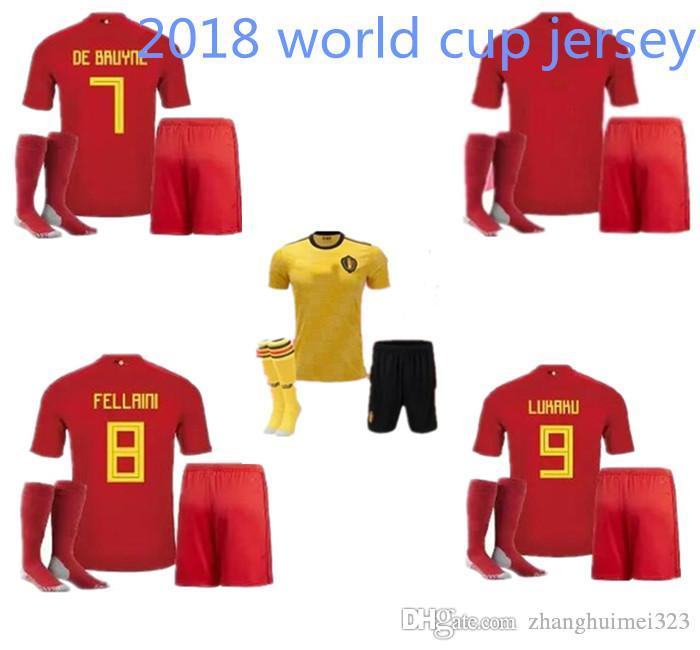 6a54f98c55d 2018 World Cup LUKAKU Belgium Adult Kits +sock Football Jersey 2019 Home  Red Away Yellow FELLAINI E.HAZARD KOMPANY DE BRUYNE Belgian Football Belgian  Jersey ...