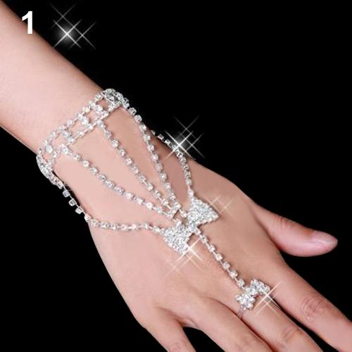 Bluelans Silver Womens Bridal Wedding Crystal Rhinestone Slave Bracelet Hand Harness Cuff bracelets