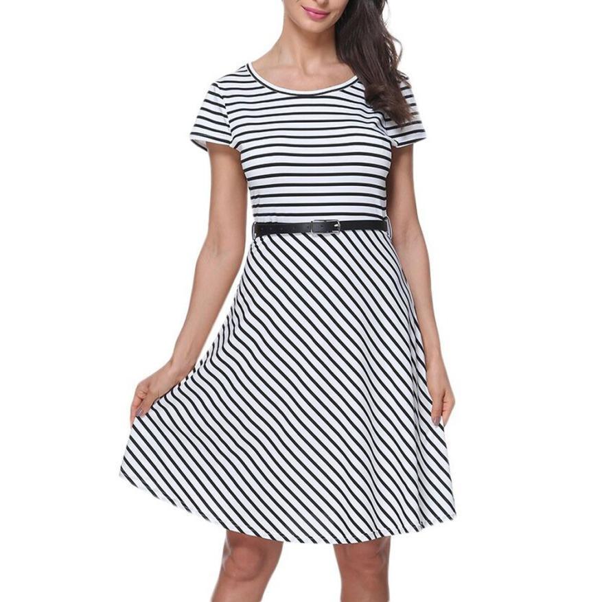 74bbe7503398e Satın Al Kadın Elbise 2019 Elbise Yaz Casual O Boyun İmparatorluğu Kısa  Kollu Kemer Şerit Diz Boyu Elbise, $30.32   DHgate.Com'da