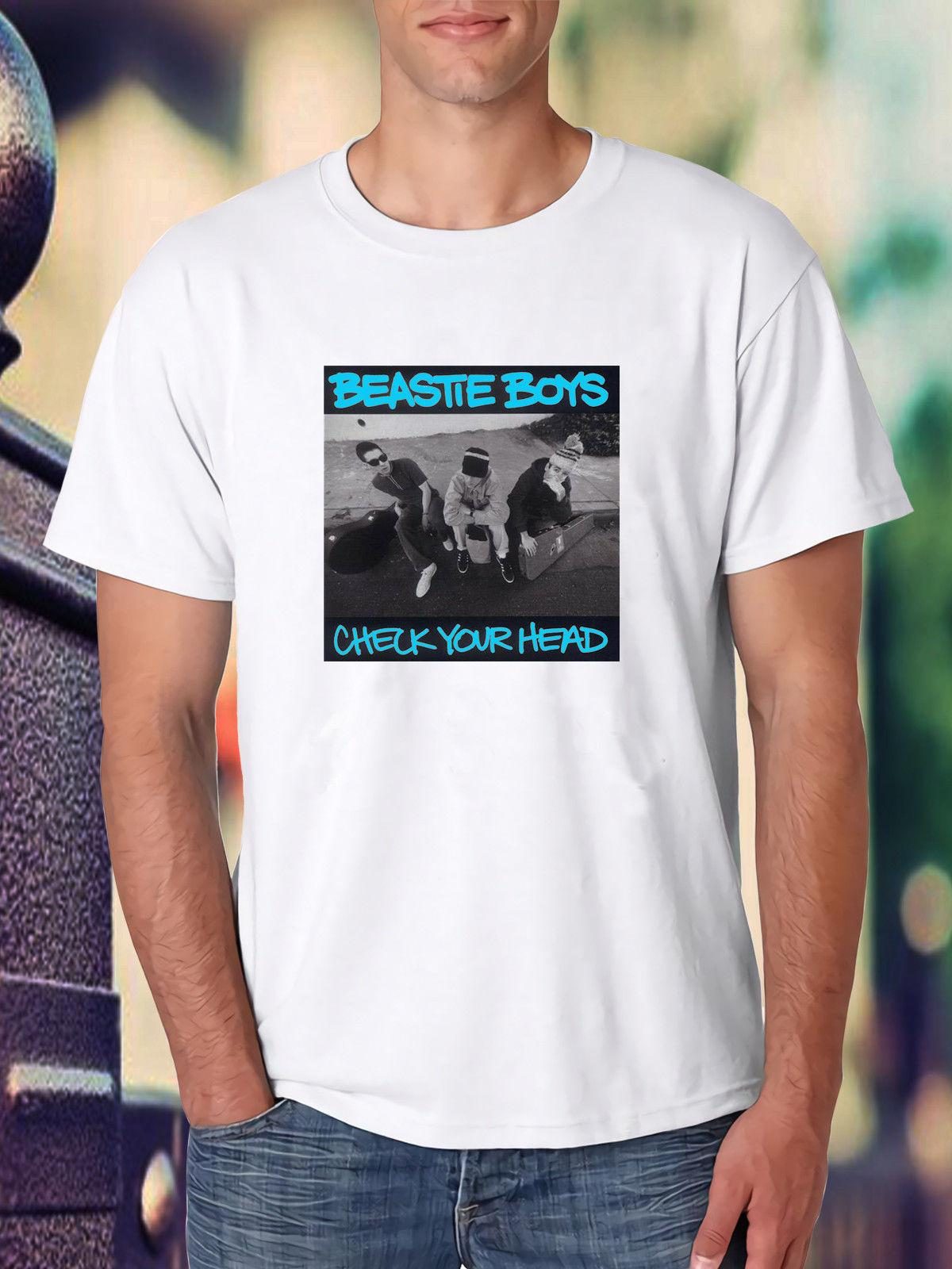 5bfae65b2cbc BEASTIE BOYS LIGHT GREY CHECK YOUR HEAD Poster White Tee Shirt Short Sleeve  Plus Size T Shirt Colour Jersey Print T Shirt Vintage Tees Unique T Shirts  From ...