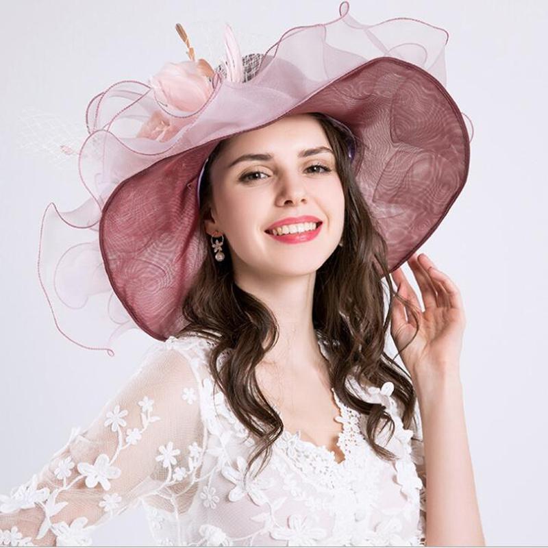 b0b95b731 Fashion Women Floral Mesh Kentucky Derby Church Sun Hat Summer Wide Brim  Cap Wedding Party Hats Beach Sun Caps Female H3
