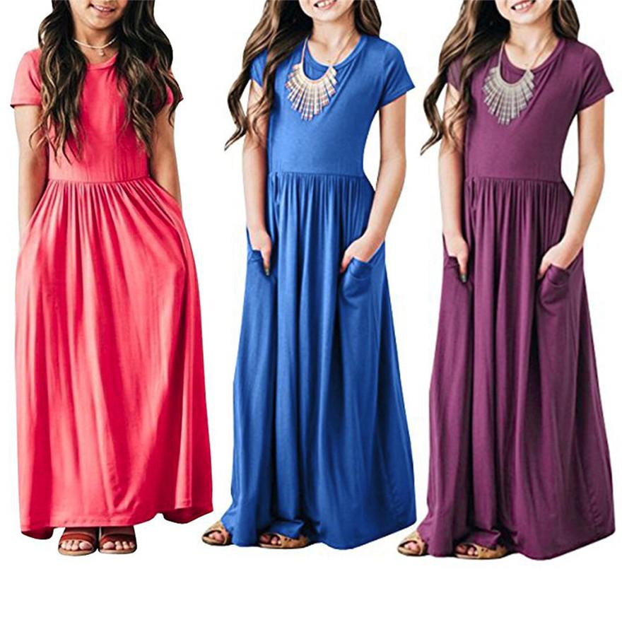 8edac1966efe3 Telotuny girls dress Pleated Long Swing Casual short sleeve Maxi Dress with  Pockets Casual Sundress Beachwear Dresses MAY 30
