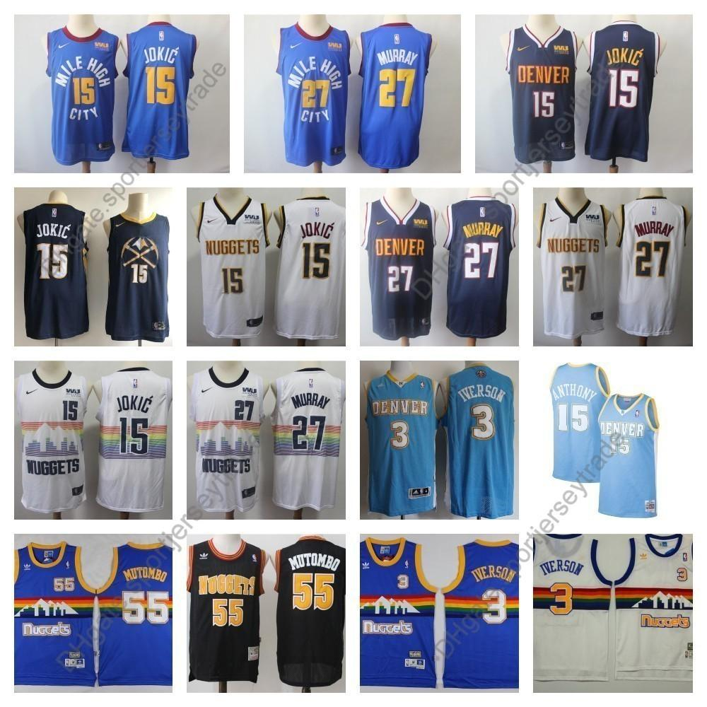 03201122 2019 2019 Earned Mens #15 Denver Nikola Jokic Jamal Murray 27 Dikembe  Mutombo 55 Nuggets Edition Basketball Jerseys Allen Iverson Carmelo Anthony  From ...
