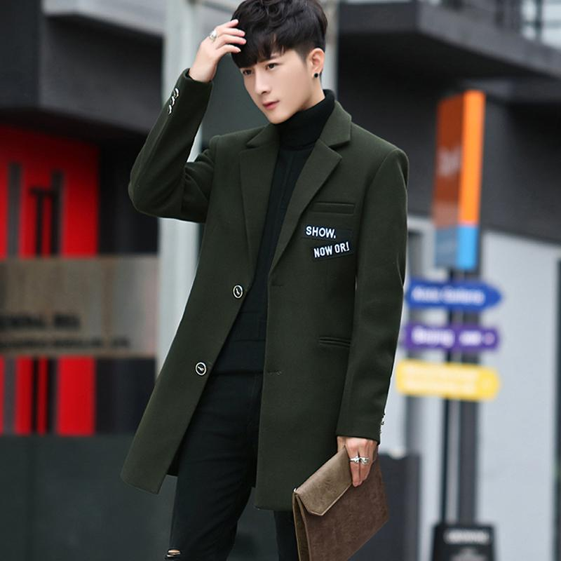 2019 new autumn and winter men's slim plush long coat men