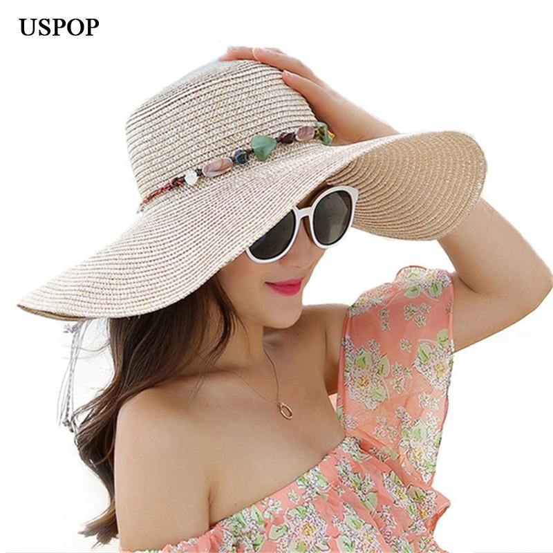 Compre USPOP 2019 Mujeres Calientes De Ala Grande Sombreros Para El Sol  Plegable De Piedra Hecho A Mano Hecho A Mano Sombrero De Paja Sombrero De  Verano ... 8688a679d39