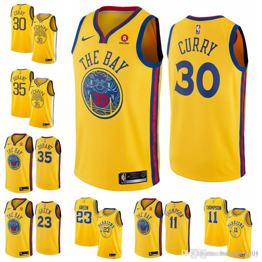 a65c9c3de7d 2019 Cheap Men Golden Jersey Steph Durant Stephen State Kevin Curry Warriors  Klay Thompsons Top Quality 100% Stitched Jersey Ti Shirt Best T Shirt Sites  ...