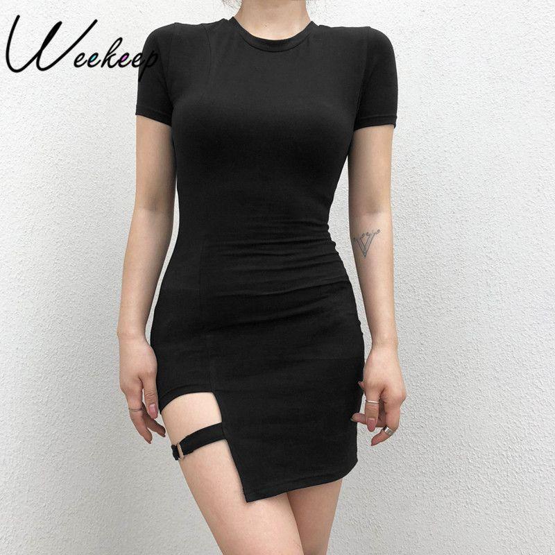 1b46b8c31114 2019 Weekeep Women Sexy Bodycon Black Dress 2018 Summer Short Sleeve Cotton  O Neck Dresses Clubwear Mini Dress Vestidos Verano Y19012201 From Tao02, ...