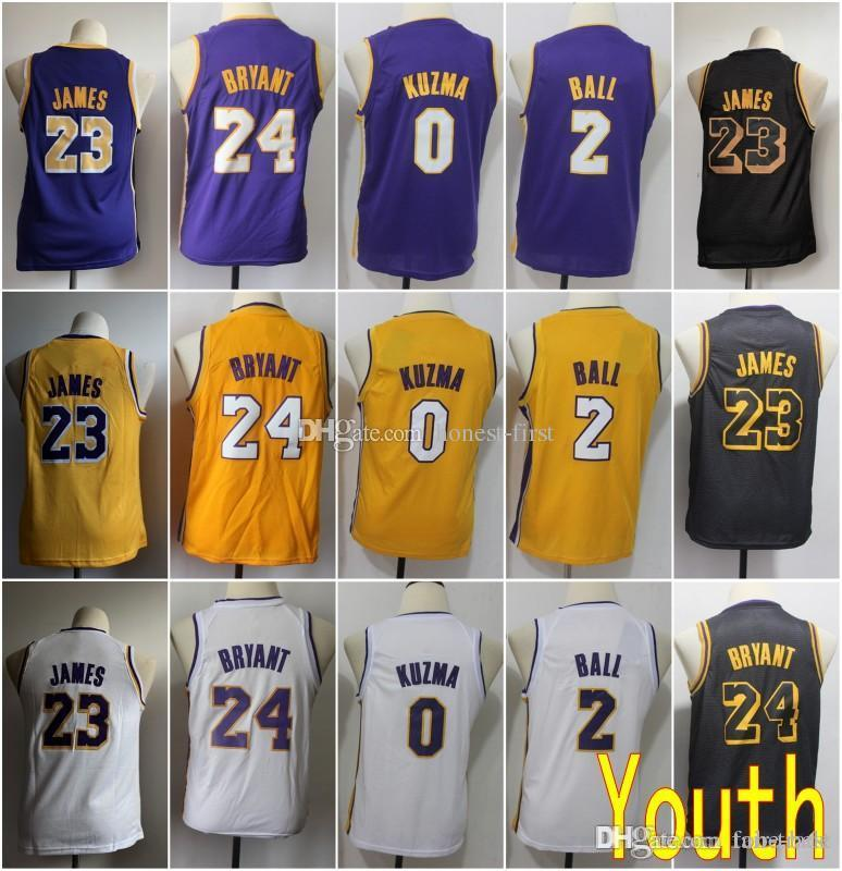 huge selection of 23adc 0406c Youth Kids Los Angeles 23 LeBron James Lakers Jersey 24 Kobe Bryant 0 Kyle  Kuzma 2 Lonzo Ball Basketball Stitched Size S-XL