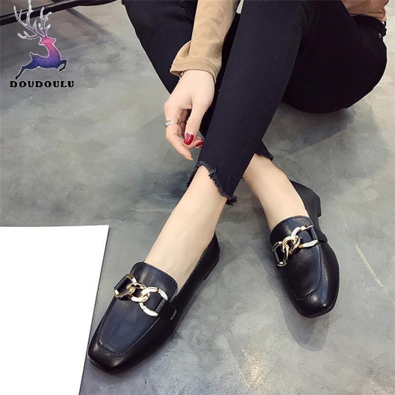 60e49ac18 Compre 2019 Vestido De Moda De Mujer Zapatos De Tacón Retro Boca Baja Color  Sólido Zapatos Casuales Mujer 2018 Nuevas Mujeres De Verano Negro Zapatos  ...