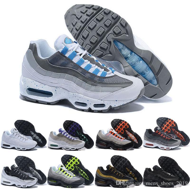low priced 489b3 4998b nike air max 95 shoes Nova Cor azul Tênis Para Mulheres Dos Homens Triplo  Preto Branco Amarelo Solar Vermelho Roxo Neon Trainers Ultra Respirável ...