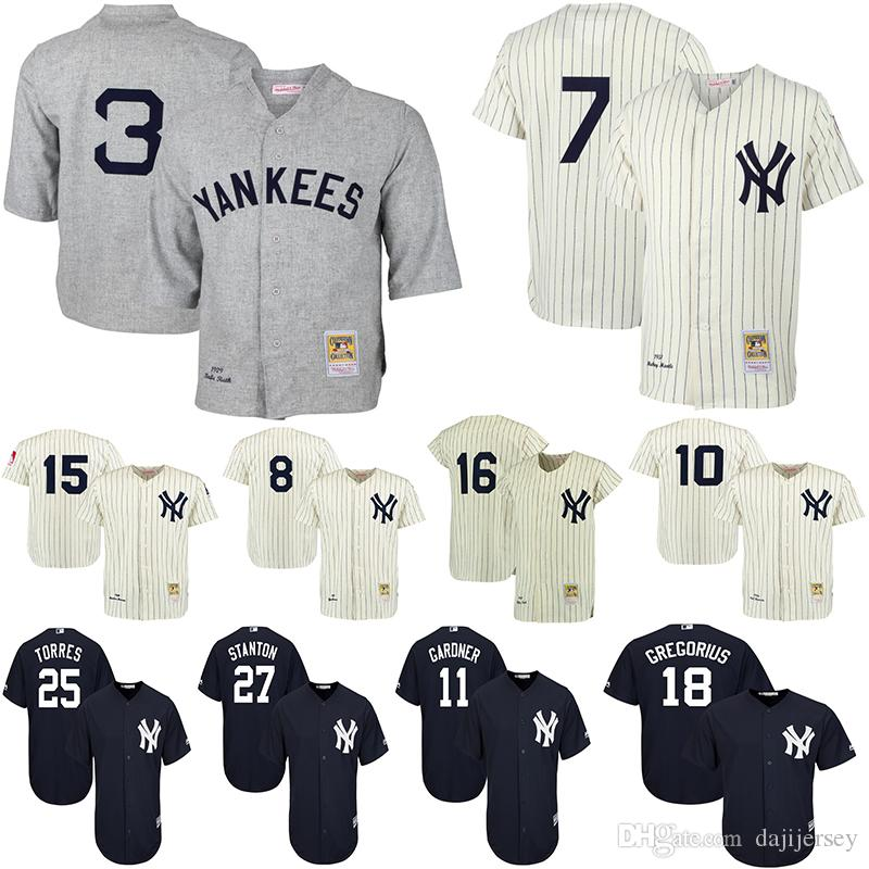 best sneakers 48a00 d1811 New York Men s Yankees Jerseys Mickey Mantle Babe Ruth Mariano Rivera  Giancarlo Stanton Didi Gregorius Brett Gardner Cream Baseball Jersey