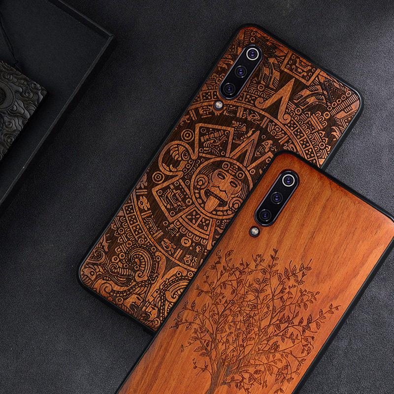 cd31587fb 2019 New For Xiaomi Mi 9 Case Slim Wood Back Cover TPU Bumper Case ...