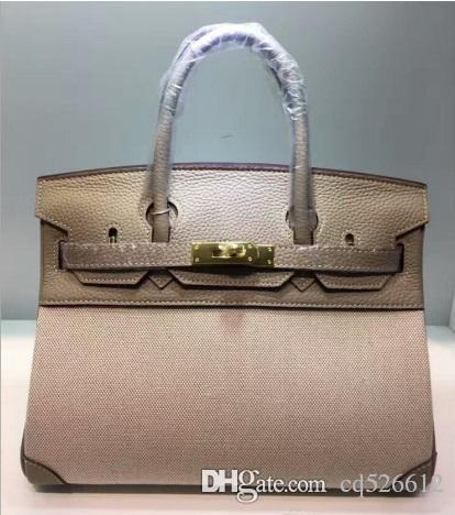 23708f289170 2018 25CM 30CM Big Brand Designer Two Tone Totes Bags Luxury Women Genuine  Leather Canvas Shoulder Bags Fashion Lady Handbag Real Image Cheap Designer  Bags ...