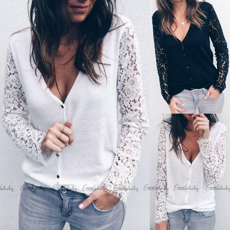 633cd6c1a5cbf Women Lace Tops Long Sleeve Floral Hollow Out Casual Loose T Shirt Sexy  Deep V Neck Girls Party T Shirts Summer Funky T Shirts Cool T Shirt From  Caicaijin08 ...